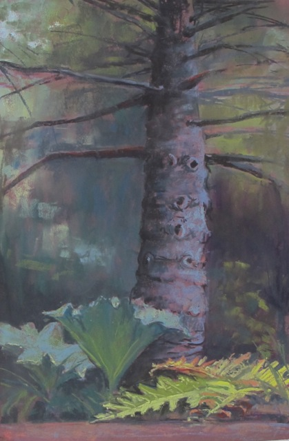 "Mist in the Trees (Golden Gate Park).  pastel on sandpaper. 15 x 18"".  Diane Olivier"