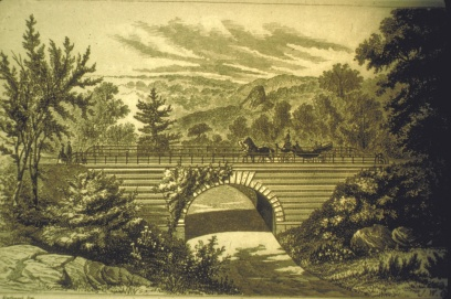 Calvert Vaux's design for Playmate's Arch below 65th St Transverse Rd. in Central Park (Avery Architectural and Fine Arts Library, Columbia University)