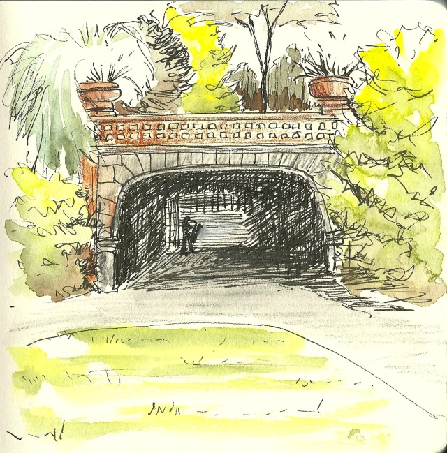 The underpass from Conservatory Valley to the Rockery and Fern Dell (sketch by Heath Massey)