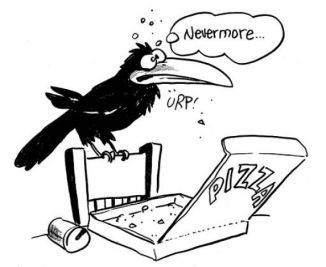 Drawing of Bruce, the right-wing raven, by Frank Rich.