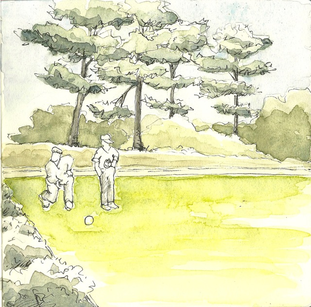 Lawn bowling in Golden Gate Park (sketch by Heath Massey)