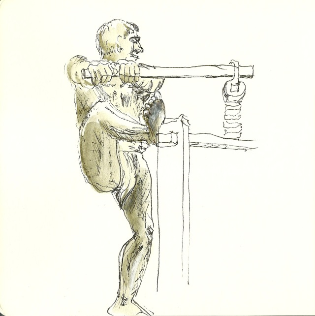 Apple cider press statue in Golden Gate Park by Thomas Shields-Clarke, 1892 (sketch by Heath Massey)