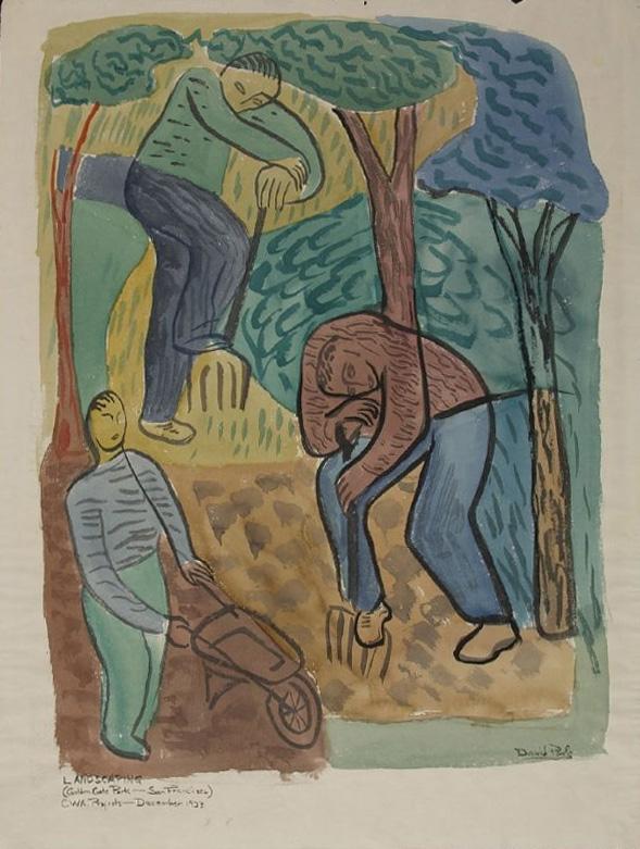 """ Landscaping Golden Gate Park,"" 1933, watercolor, David Park (FAMSF, Auchenbach Foundation)"