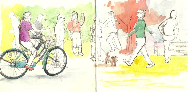 An every-day parade in Golden Gate Park.  (sketch by Heath Massey)