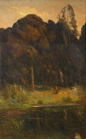 """Eucalypti,""  by Giuseppe Cadenasso (1858-1918), oil on canvas, 48 x 31"""