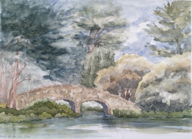 Rustic Bridge, Stow Lake (watercolor by Heath Massey)